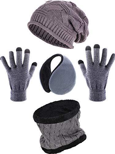 Blulu 4 Stücke Winter Set Einschließen Häkeln Mütze Hut Ohrwärmer Schal und Handschuhe (Farbe 2) (Damen-schal, Handschuhe Und Hut)