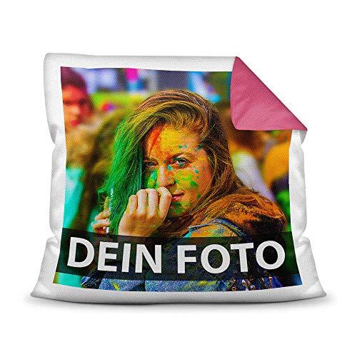 Tassendruck Foto-Kissen Selbst gestalten (40 x 40 cm) - mit Foto individuell Bedruckt/Rückseite Pink/Personalisierte Geschenk-Idee/Deko-Kissen/Kopf-Kissen inkl. Füllung