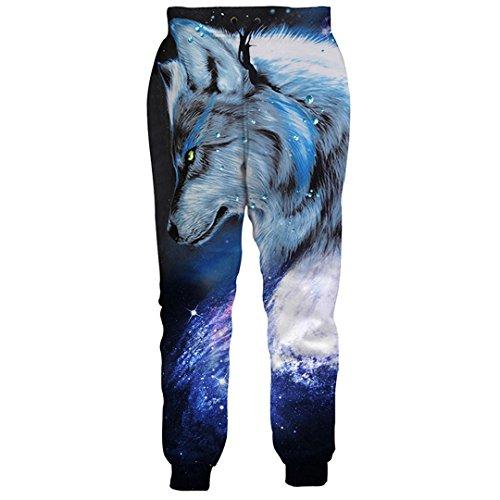 WEPTANSES Galaxy Wolf Printed Track Hosen Jogger Hosen Männer Frauen Jogginghose Pantalon Man Jogger Mode Pluderhosen Lose Hosen S (Emoji Kleinen Jogger)