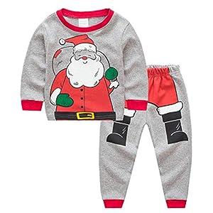 Miyanuby Pijamas Bebés Niño Niñas Pijamas Navideños de Algodón Camiseta de Manga Larga de Papá Noel + Pantalones, 2-7… 12