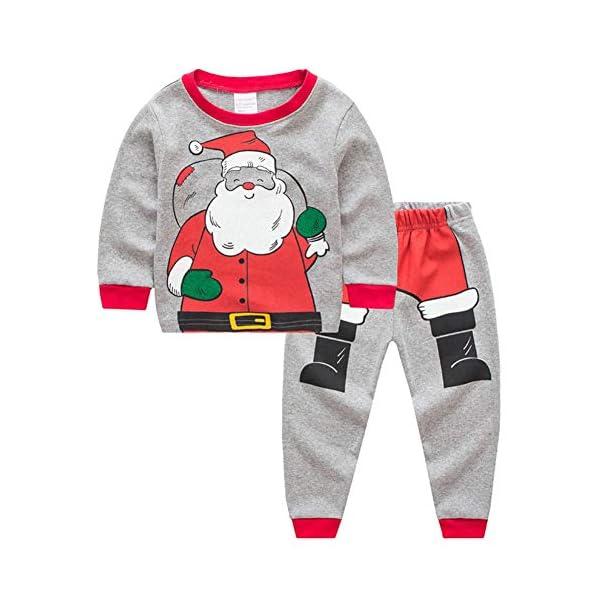 Miyanuby Pijamas Bebés Niño Niñas Pijamas Navideños de Algodón Camiseta de Manga Larga de Papá Noel + Pantalones, 2-7… 1