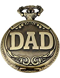 REATR Mens Bronze Pocket Watch Retro Quartz Watch With Gift Box For Dad