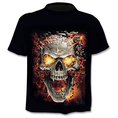 Crazy Hawaii-hemden (NSDX Herren 3D T-Shirt New 3D Skull T-ShirtHerrenmode Marke Herren Punisher Ghost T-Shirt 3D Print Mode Hip Hop Harajuku T-Shirt)