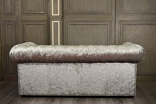 New Luxus Chesterfield Stoff Shimmer Silber 3-Sitzer-Sofa - 3