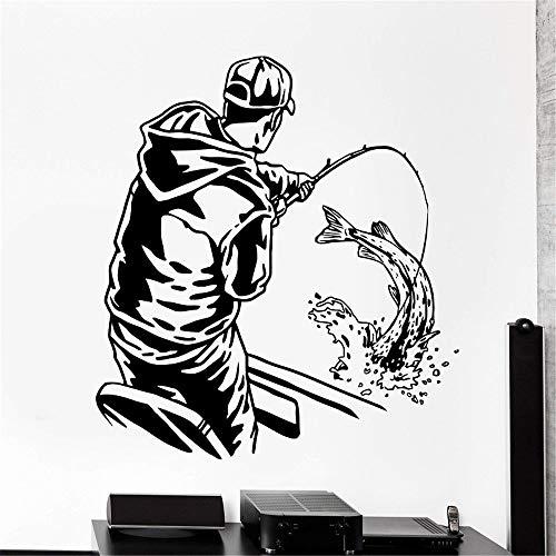 kyprx Wohnkultur Wand Vinyl Applique Angeln Fisch Sport Mann im Boot Home Interior Art Decor Decor Tapete Kaffee 57x61cm