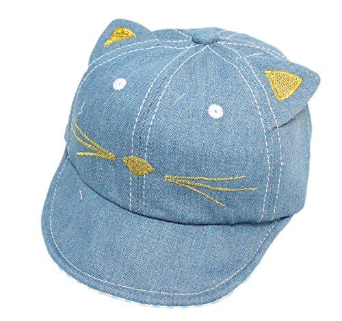 Casquette de Baseball Baby Boy Blue Denim Cotton Peak avec Motif brodé Cat 3-18 Mois (Bleu Clair)