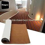 Questo tappetino può essere applicato in modo semplice staccando la pellicola sul retro e posizionandolo.Tappeto autoadesivo in legno, si adatta a qualsiasi superficie all'interno di una barca: piattaforme da nuoto, zona timone, cabine di pilotagg...