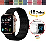 Chok Idea Strap für Apple Watch Armband 42mm,Mit Klarer TPU Case,Nylon Sport Loop Ersatzband für iWatch Apple Watch Serie 3 2 1,Nike+,Hermès,Black