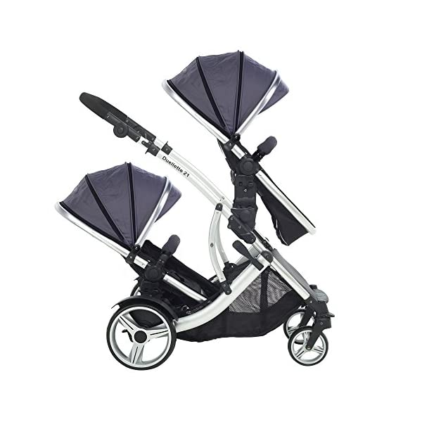 Kids Kargo Duellette Combi Suitable from Newborn. Carrycot Converts to Seat Unit. Dooglebug Silver Kids Kargo Demo video please see link https://www.youtube.com/watch?v=X_tEcnQ8O8E%20 Suitability Newborn - 15kg (approx 3 yrs). Carrycot converts to seat unit incl mattress Carrycot & car seats fit in top or bottom position. Compatible car seats; Kidz Kargo 0+, Britax Babysafe 0+ (no adapters needed) or Maxi Cosi adaptors 6