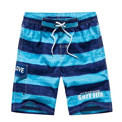 HOOM-Nouveau pantalon de plage d'été occasionnels Shorts hommes Camo coton taille lâche cinq pantalons shorts Blue o