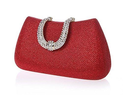 ERGEOB Damen Clutch Abendtasche Handgelenkstaschen für Hochzeit Party Theater Event Golden Rot