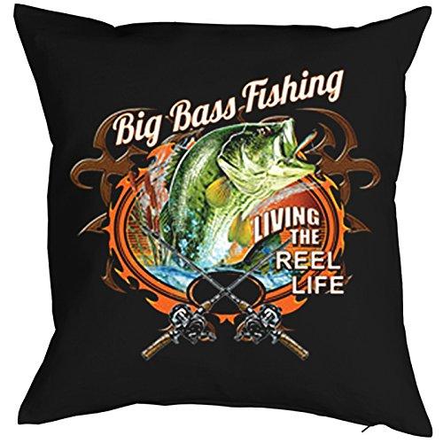 Angler Dekokissen Polster Fischen Kissen mit Füllung Big Bass Fishing für Angler angeln Fischen für Fischer Hobbyfischer Hobbyangler (Bass-fischen-shirt)