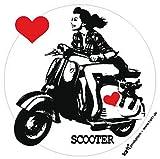 1art1 81809 Motorroller - Scooter Girl Poster-Sticker Tattoo Aufkleber 9 x 9 cm