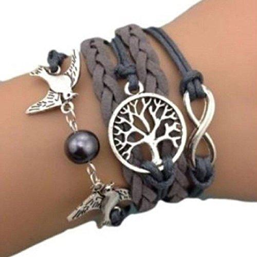 Armband Unendlichkeit Tauben Infinity Lebensbaum grau Karma - 2