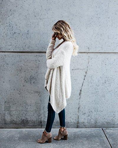 NiSeng Femmes Tricots Pulls Gilet Irrégulier Casual Cardigan Manteau Pull Manches Longues Outwear Tops Blanc