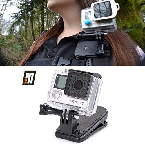 micros2u Halterung für GoPro zum Anklipsen an RucksackriemenUm 360° drehbar, Schnellspanner, für Kopfbedeckung, Tasche, Rucksack.Klemme passend für Hero 6543, Session und andere Action-Kameras.
