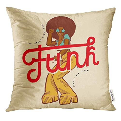 lack 70S Funk Girl Dancing Vintage Style with Big Red Word Colorful Abstract Afro Decorative Pillow Case Home Decor Square 18x18 Inches Pillowcase ()