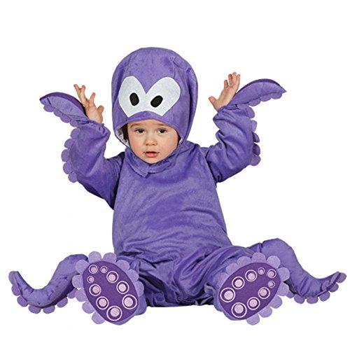 Kinderkostüm lila Krake Gr. 68/80 Overall Tintenfisch Tierkostüm Fasching Costume polpo bimbo 6-12 mesi (Baby Tintenfisch Kostüm)