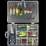 GossipBoy Fishing Lure Kits Mixed Universal Assorted Fishing Lure Set with Fishing Tackle Box - Including Spinners, VIB, Treble Hooks, Single Hooks, etc for Freshwater Saltwater Fishing (42Pcs)