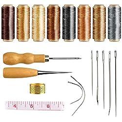 MIZOMOR 19pcs Herramientas de Costura a Mano 264 Yardas Cable de Hilo Encerado Agujas de Costura a Mano Kit de Herramientas de Cuero de Punzón de Perforación para Sofá Artesanía de Costura DIY