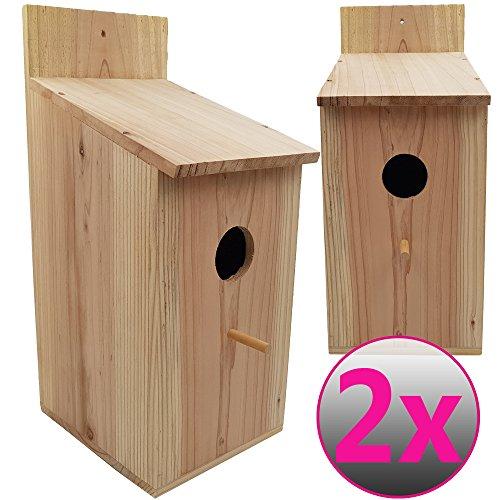 Powerpreise24 proheim Nistkasten XXL 2er Set 43 x 19 x 18 cm aus Kiefernholz Vogelhäuschen für Vögel Nisthaus Vogelnistkasten naturbelassen, Stabil und witterungsbeständig