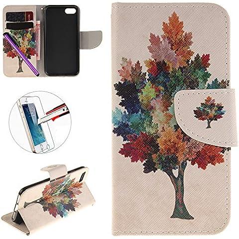 iPhone 7caso, iPhone 7piel sintética cartera funda, 'diseño de hojas Protector de pantalla transparente elegante para iphone 74.7