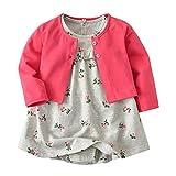ZHUANNIAN Baby Mädchen Bekleidungssets Blumen Body-Kleid Kleider and Baumwolle Mantel 2 tlg. Outfits (62, Pink)