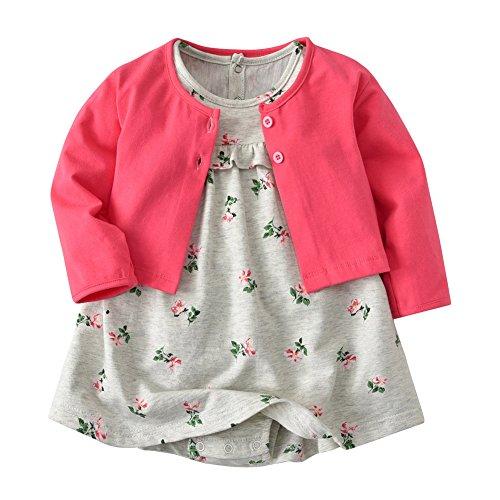 hen Bekleidungssets Blumen Body-Kleid Kleider and Baumwolle Mantel 2 Tlg. Outfits (62, Pink) (Spiele Verkauf Kleider)