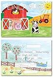 12 Einladungskarten für Kindergeburtstag Bauernhof/Tiere/Traktor/Format DIN A6 / zum Ausfüllen (Bauernhof)