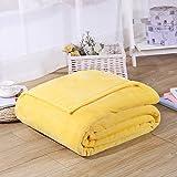 Flanell Überwurf Decken, Micro Plüsch weich Flanell Fleece King Size Decke Spannbetttuch für Bett Sofa 180* 200cm gelb gelb None