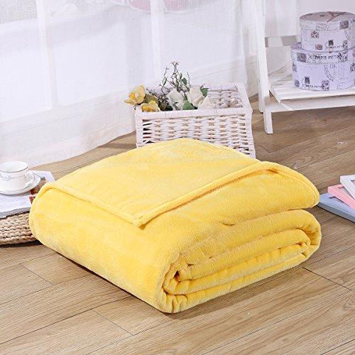 Flanell Überwurf Decken, Micro Plüsch weich Flanell Fleece King Size Decke Spannbetttuch für Bett Sofa 180* 200cm gelb gelb None (Micro-flanell-decke)