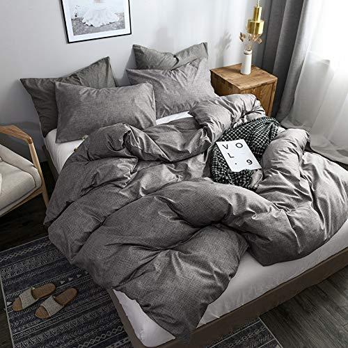 Boqingzhu Bettwäsche 220x240cm Grau Anthrazit Uni Weich Microfaser 3 TLG. Bettbezug Set Doppelbett, 220x240+80x80cm