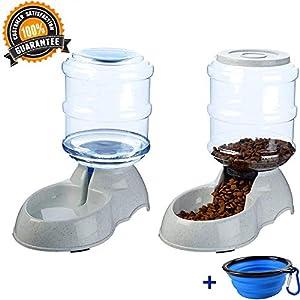 XIAPIA Distributeur de Nourriture/Eau Fontaine Automatique-3.75Lx 2 Pièces- Alimentation pour Chien/Chat/Accesoires Gamelle Animaux Domestiques BPA Free