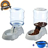 Automatic Gravity Cat Food And Water Feeder Waterer Dispenser Set with Collapsible Bowl for Dog Pet Puppy Kitten Big Capacity 3.8 L x 2