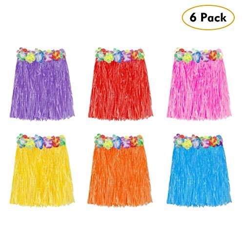 Twister.CK 6 STÜCKE Hawaiian Gras Hula Rock, Hawaii Luau Röcke Kostüm Kostüm für Mädchen Frauen Luau Birthday Party Favor Taschen Supplies