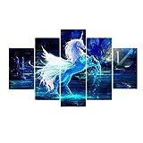 Kicode 5 Piezas Unicornio Moderno Lona Pintura HD Póster de Arte Cuadro de Pared