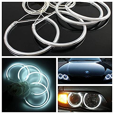 AUDEW 4 X Angel Eyes CCFL Xénon Phare Voiture Lampe Halo Anneau Ampoule pour BMW E36 E38 E39 E46 avec Onduleur Blanc 8000k