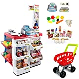 #4: Indusbay Supermarket Cash Register Play Set + Shopping Cart with Working Scanner Light and Sound, Pretend Food, Shopping cart , Currency & Groceries