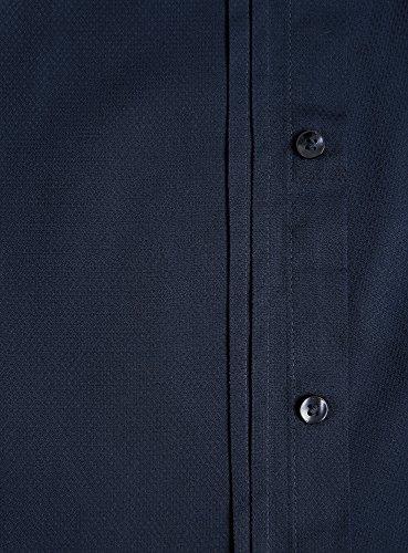 oodji Ultra Homme Chemise Ajustée avec Manchettes à Boutons Bleu (7900N)