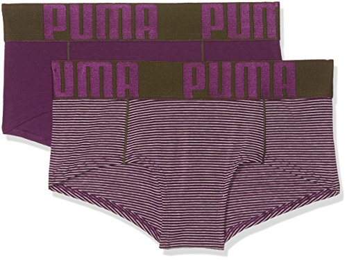 Hipster-shorts (PUMA Damen Yarn Dyed Stripe Mini Shorts 2P Unterwäsche, Dark Purple/Grey Melange, M)