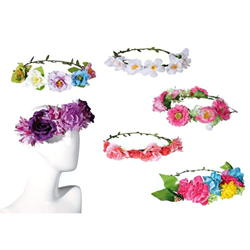 Kleidung Panther Pink (Bada Bing Blumenkranz Haarreif Hippie Blumenmädchen Blumen Haarschmuck Verkleiden Karneval (Modell 2))