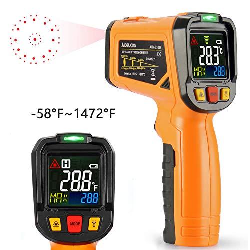 Infrarot Thermometer AIDBUCKS PM6530B IR Laser Digital Thermometer kontaktfreies mit Farbe lcd 12-Punkte-Laserkreis Farbbildschirm Alarmfunktion bei Über/Unterschreitung der Temperatur -50℃ bis 550℃ -