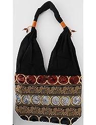 Sac bandoulière, sac besace soie Thai Tricolore brodé séquins rouge grenat