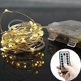 Micro Lichterkette Batteriebetrieben mit Silberdraht 5M 50 Lichter, IP 65 Warmweiß - (Timer Funktion, 2 Fernbedienung Batterie Enthalten)