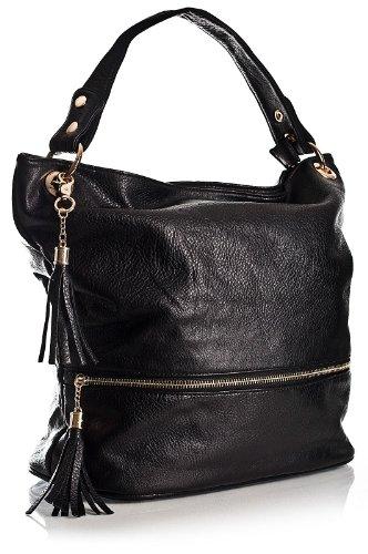 Big Handbag Shop Damen-Schultertasche, Schulterriemen, Reißverschluss Schwarz - Schwarz