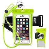 EOTW Funda Impermeable IPX8 Universal para Deportes acuaticos para iPhone XS MAX/XS/XR, 8P/8/7P/7/6/6S +, Samsung S6/Edge/S5/S4 hasta 7 Pulgadas. (Verde con Band)