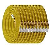 1m - CAT7 cable de red plano amarillo - 10 piezas 10 Gbit/s Gigabit LAN piso flaco cable Patch compatible con compatible con CAT5 CAT6 CAT7 CAT8 Cat8 cinta Lan cable