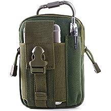 Bolsa Compacta MOLLE EDC Táctica Unigear, Paquete de Bolso de la Cintura para Herramientas Pequeñas de Multiusos al Aire Libre con el Mosquetón de Aluminio Gratuito de Extra,riñonera (verde oscuro)