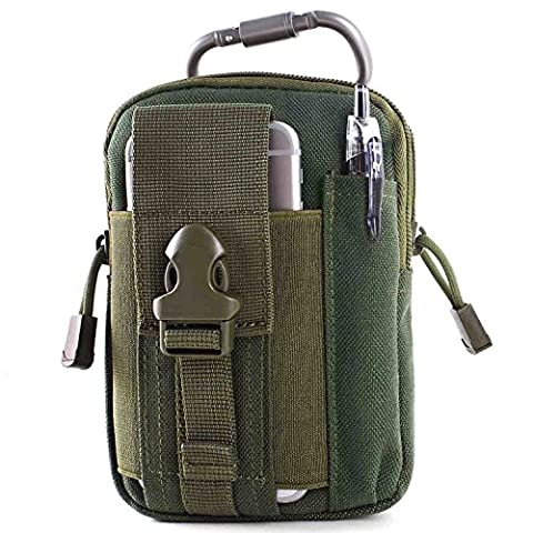 Tactical MOLLE EDC Pouch Compact Outdoor Multi-Purpose Utility Gadget Tool Belt Waist Bag Pack with Extra Aluminum Carabiner (Dark