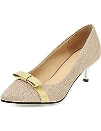 9002eec153e2 Aisun Femme Brillant Chaussures de Mariage Noeud Paillettes Escarpins